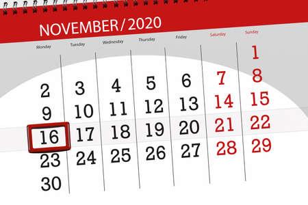 Calendar planner for the month november 2020, deadline day, 16, monday.