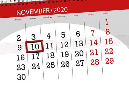 Calendar planner for the month november 2020, deadline day, 10, tuesday.