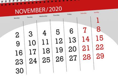 Calendar planner for the month november 2020, deadline day.