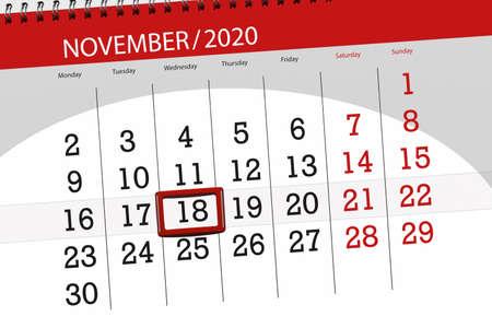 Calendar planner for the month november 2020, deadline day, 18, wednesday.