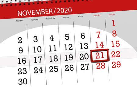 Calendar planner for the month november 2020, deadline day, 21, saturday. 免版税图像