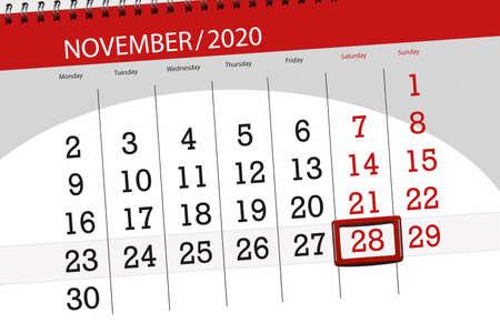 Calendar planner for the month november 2020, deadline day, 28, saturday.