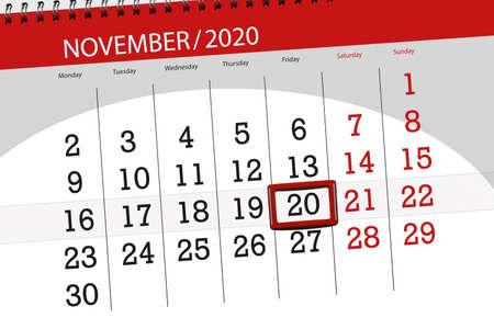 Calendar planner for the month november 2020, deadline day, 20, friday.