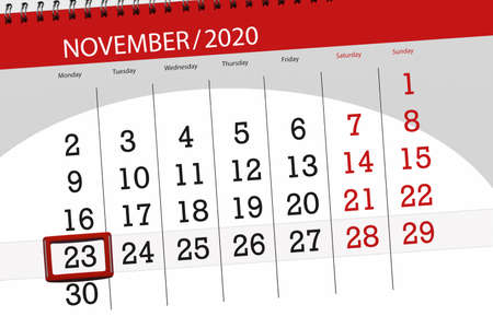 Calendar planner for the month november 2020, deadline day, 23, monday. 免版税图像