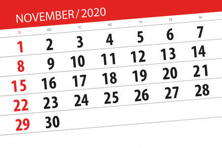 Calendar planner for the month november 2020, deadline day.