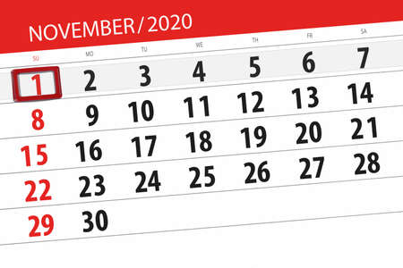Calendar planner for the month november 2020, deadline day, 1, sunday.