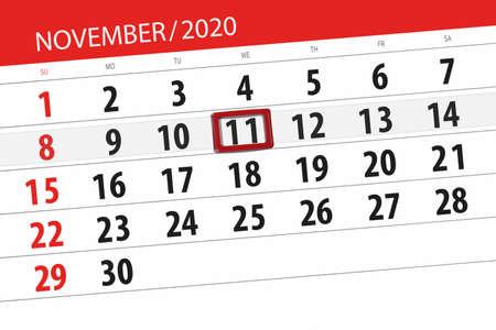 Calendar planner for the month november 2020, deadline day, 11, wednesday.