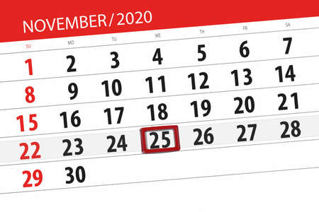 Calendar planner for the month november 2020, deadline day, 25, wednesday. 免版税图像