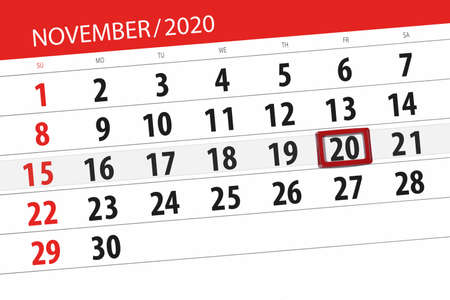 Calendar planner for the month november 2020, deadline day, 20, friday.
