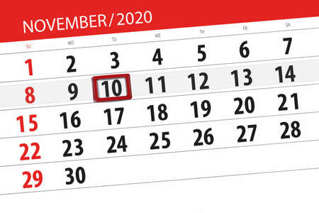 Calendar planner for the month november 2020, deadline day, 10, tuesday.