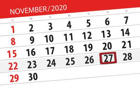 Calendar planner for the month november 2020, deadline day, 27, friday. 免版税图像