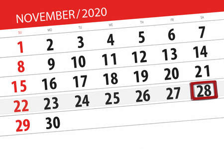 Calendar planner for the month November 2020, deadline day on 28th