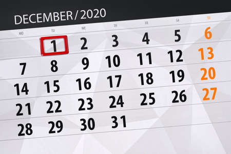 Calendar planner for the month december 2020, deadline day, 1, tuesday.