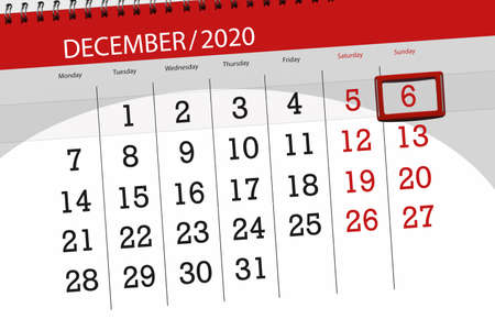 Calendar planner for the month december 2020, deadline day, 6, sunday.