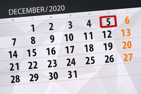 Calendar planner for the month december 2020, deadline day, 5, saturday. Фото со стока