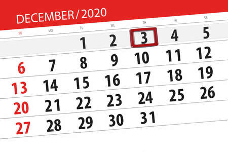 Calendar planner for the month december 2020, deadline day, 3, thursday.