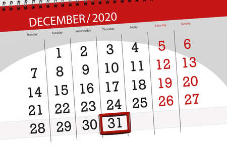 Calendar planner for the month december 2020, deadline day, 31, thursday.