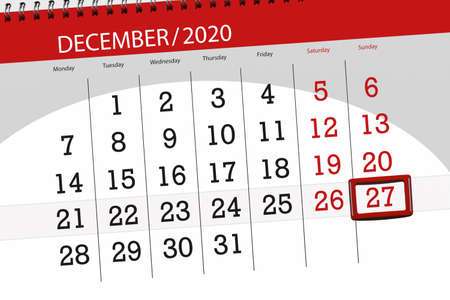 Calendar planner for the month december 2020, deadline day, 27, sunday. Фото со стока