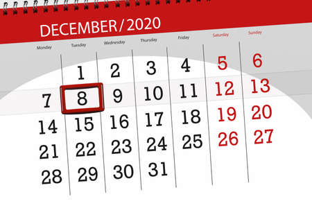Calendar planner for the month december 2020, deadline day, 8, tuesday. Фото со стока