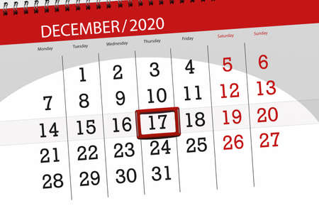 Calendar planner for the month december 2020, deadline day, 17, thursday.