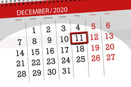 Calendar planner for the month december 2020, deadline day, 11, friday.