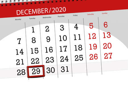 Calendar planner for the month december 2020, deadline day, 29, tuesday. Фото со стока