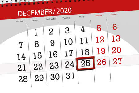 Calendar planner for the month december 2020, deadline day, 25, friday.