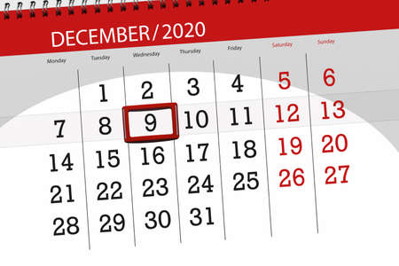 Calendar planner for the month december 2020, deadline day, 9, wednesday. Фото со стока