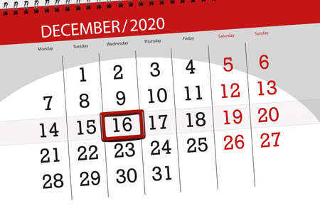 Calendar planner for the month december 2020, deadline day, 16, wednesday. Фото со стока