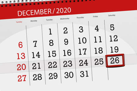 Calendar planner for the month december 2020, deadline day, 26, saturday.