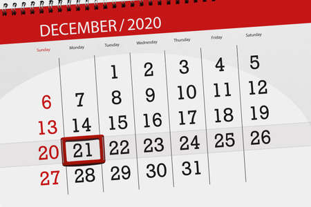 Calendar planner for the month december 2020, deadline day, 21, monday.