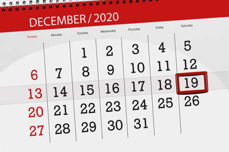 Calendar planner for the month december 2020, deadline day, 19, saturday.