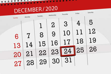 Calendar planner for the month december 2020, deadline day, 24, thursday.