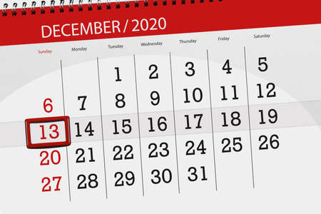 Calendar planner for the month december 2020, deadline day, 13, sunday. Фото со стока