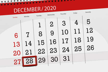 Calendar planner for the month december 2020, deadline day, 28, monday.