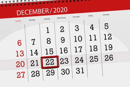 Calendar planner for the month december 2020, deadline day, 22, tuesday.
