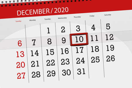 Calendar planner for the month december 2020, deadline day, 10, thursday.