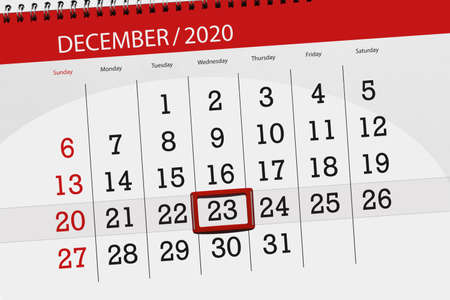 Calendar planner for the month december 2020, deadline day, 23, wednesday.