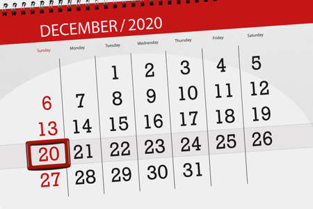 Calendar planner for the month december 2020, deadline day, 20, sunday.