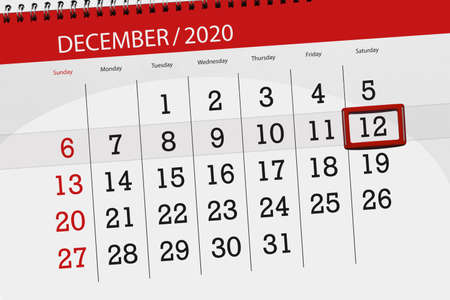 Calendar planner for the month december 2020, deadline day, 12, saturday.