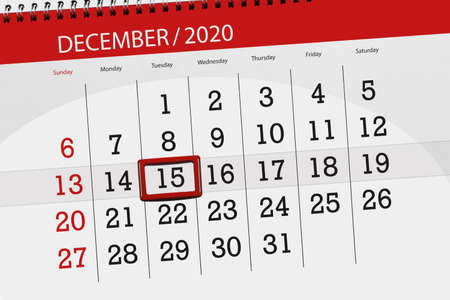 Calendar planner for the month december 2020, deadline day, 15, tuesday.