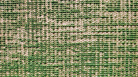 Yoga mat with jute texture green color Banque d'images