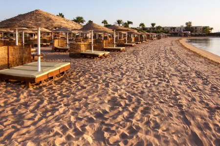 lounges: Beautiful beach with chaise lounges at sunrise