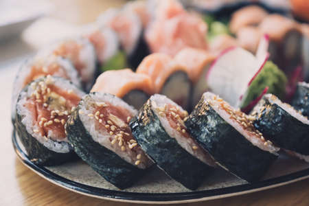 Close-up of sushi rolls. Soft cotrast and colors