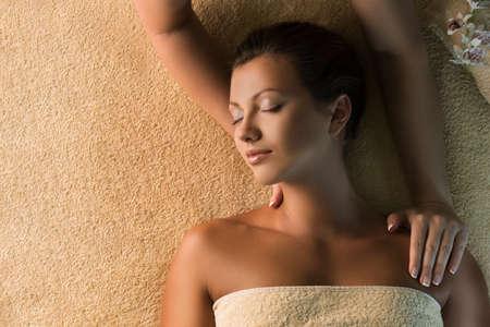 relax massage: The beautiful girl has massage. Spa treatment.