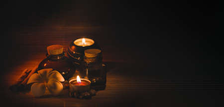 Beautiful spa composition on dark wooden background
