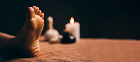 Close up shot of foot at spa before massage session