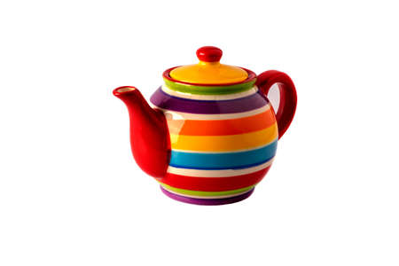 colored ceramic teapot for making tea on a white background