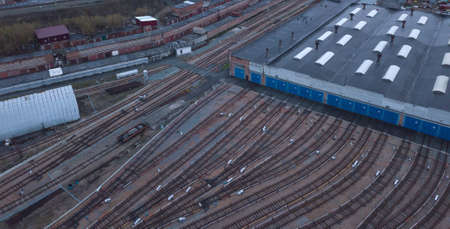 Metro railway depot in Novosibirsk, Russia with a lot of rails going to the shed.