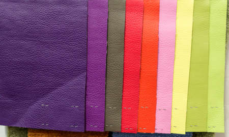 Pieces of leather material for example in the catalog of different colors for the design studio Stock Photo